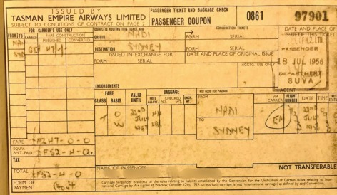 daddy's 1st airline ticket 1956