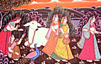 Gopis on cloth