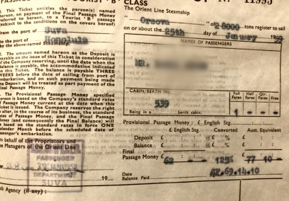 Orsova ticket to.. 1959